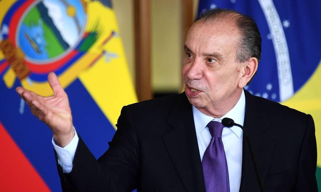 O ministro das Relações Exteriores, Aloysio Nunes Ferreira, durante entrevista coletiva no Palácio Itamaraty Foto: Evaristo Sá / AFP