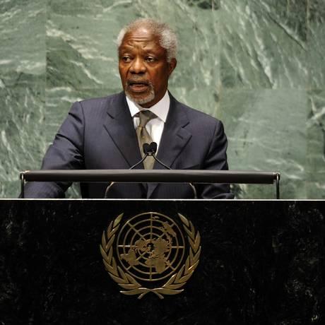 Kofi Annan na Assembleia Geral da ONU, em 2012 Foto: TIMOTHY A. CLARY / AFP
