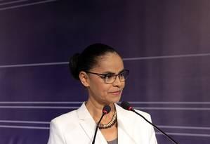 Marina Silva, candidata da Rede, participa de fórum em São Paulo Foto: Edilson Dantas / Agência O Globo