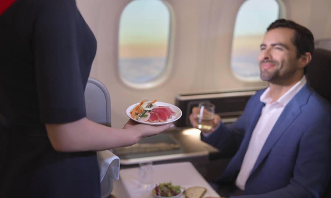 Serviço 'anti jet lag' da classe executiva do voo entre Perth e Londres da Qantas Foto: Andreas Smetana/Qantas / Divulgação