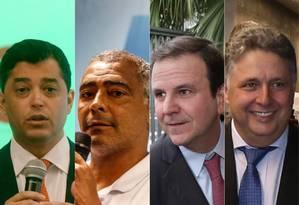 Quatro dos pré-candidatos ao governo do Rio, na ordem, Romário, Eduardo Paes e Anthony Garotinho Foto: Reprodução / Agência O Globo