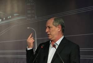 O candidato do PDT à Presidência, Ciro Gomes, durante evento em São Paulo Foto: Agência O Globo