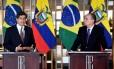 Os ministros do Exterior do Equador, José Valencia, e do Brasil, Aloysio Nunes Ferreira, em coletiva no Itamaraty na última sexta-feira Foto: EVARISTO SA / AFP/ 17-8-2018