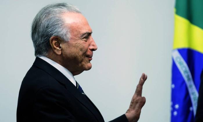 O presidente Michel Temer, durante reunião no Palácio do Planalto Foto: Jorge William/Agência O Globo/20-08-2018