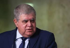 O ministro da Secretaria de Governo, Carlos Marun, durante entrevista Foto: Givaldo Barbosa/Agência O Globo/07-08-2018