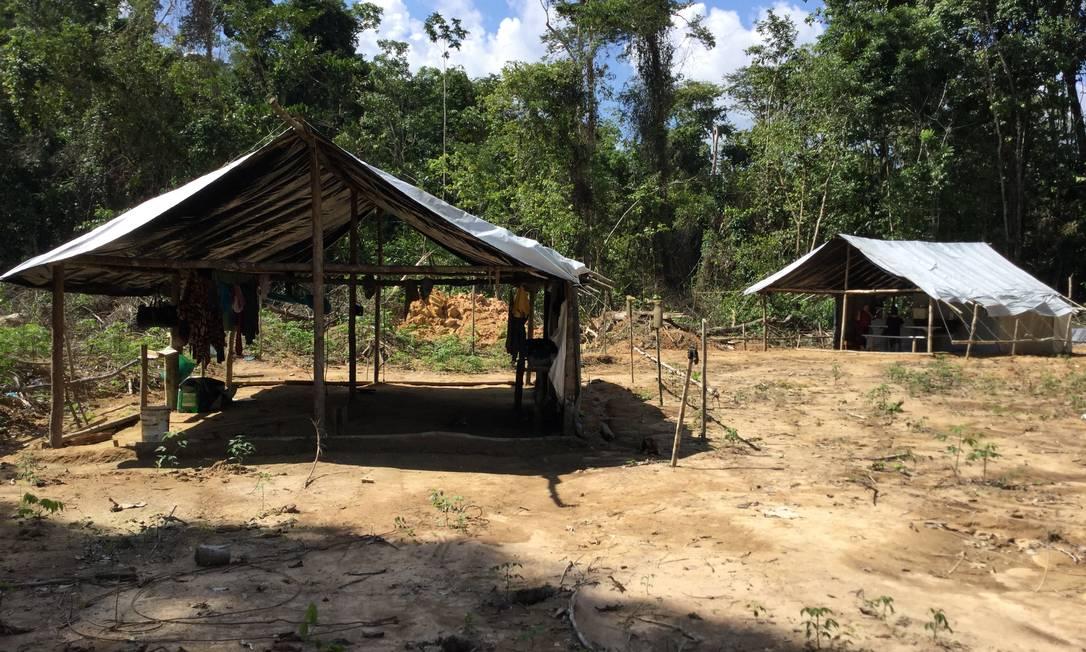 Garimpo clandestino onde foi realizada operação do Ministério do Trabalho Foto: Divulgação/Ministério do Trabalho
