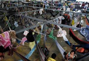 Venezuelanos em abrigo na cidade de Boa Vista, Roraima Foto: Nacho Doce / Reuters