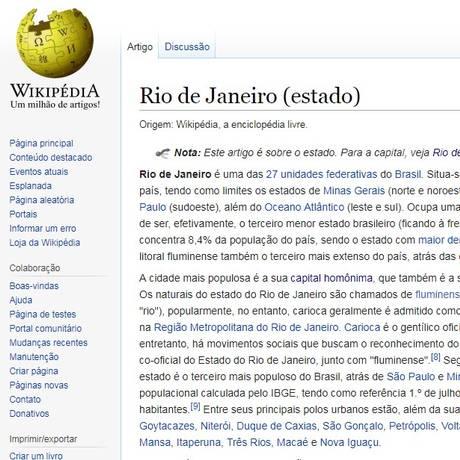 Trecho do Wikipédia sobre o Estado do Rio que aparece no programa de governo do candidato André Monteiro (PRTB) Foto: Reprodução