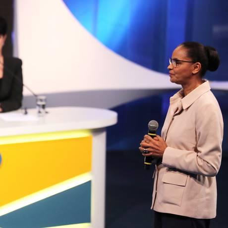 Jair Bolsonaro (PSL) e Marina Silva (REDE) no debate da RedeTV!, em 17 de agosto Foto: Paulo Whitaker / Reuters