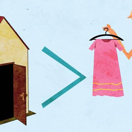 O minimalismo como estilo de vida implica muitas vezes optar em reduzir o número de peças do guarda-roupas e morar numa casa pequena, com poucos móveis Foto: André Mello