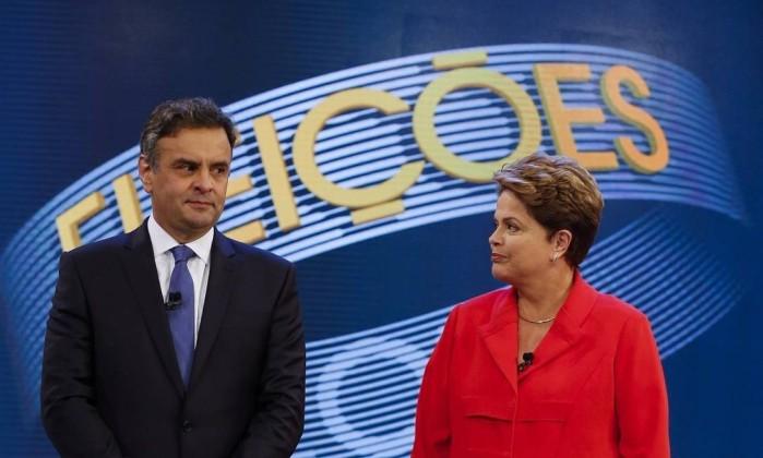 Aécio Neves e Dilma Rousseff em debate presidencial em 2014 Foto: Alexandre Cassiano / Agência O Globo