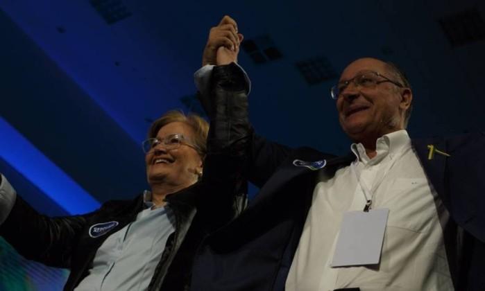 O candidato do PSDB ao Planalto, Geraldo Alckmin, e sua vice, Ana Amélia Foto: Daniel Marenco / Agência O Globo
