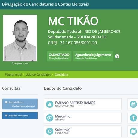 O funkeiro Fabiano Baptista Ramos, conhecido como MC Tikão, é candidato a deputado federal Foto: Reprodução