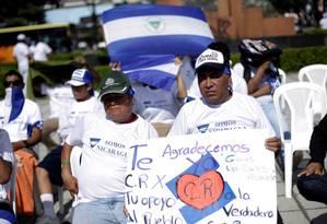 Em manifestação de 22 de agosto; nicaraguenses agradecem acolhimento da Costa Rica; neste sábado, outra marcha celebrou integração após episódios de discriminação Foto: JUAN CARLOS ULATE / REUTERS