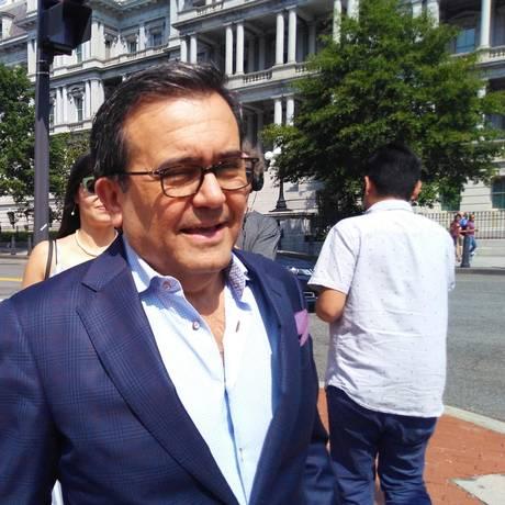 O ministro da Economia do México, Ildefonso Guajardo, durante pausa para almoço no Escritório de Comércio dos EUA, em Washington Foto: ALINA DIESTE / AFP