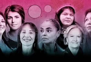 Candidatas revelam o que pensam sobre questões femininas Foto: Editoria de Arte