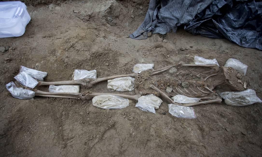 Os arqueólogos não descartam que outros ossos sejam encontrados nos próximos dias, quando outro trecho da igreja começa a ser escavado Foto: Márcia Foletto / Agência O Globo