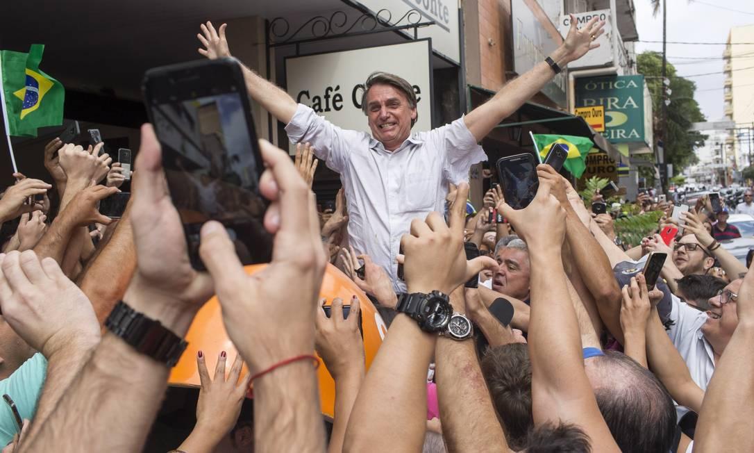 Bolsonaro faz campanha em São José do Rio Preto, no interior de São Paulo Foto: Edilson Dantas / Agência O Globo (24/08/2018)