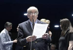 O senador José Serra, durante pronunciamento no plenário do Senado Foto: Waldemir Barreto/Agência Senado/07-08-2018