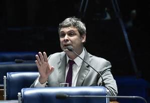 O senador Lindbergh Farias (PT-RJ), durante discurso no plenário do Senado Foto: Geraldo Magela/Agência Senado/09-08-2018