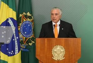 O presidente Michel Temer, durante pronunciamento no Palácio do Planalto Foto: Ailton de Freitas/Agência O Globo