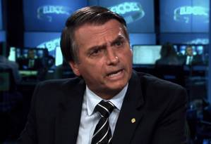 O candidato Jair Bolsonaro (PSL) dá entrevista ao Jornal Nacional, da TV Globo Foto: Reprodução/TV Globo