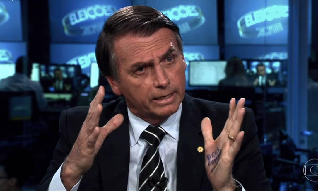 Jair Bolsonaro (PSL) participa de entrevista no Jornal Nacional Foto: Reprodução / TV Globo