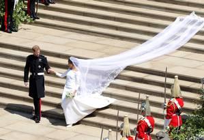 Príncipe Harry e Meghan Markle deixando a capela de St. George, no Castelo de Windsor, após a cerimônia de casamento, em 19 de maio de 2018 Foto: Andrew Matthews / REUTERS