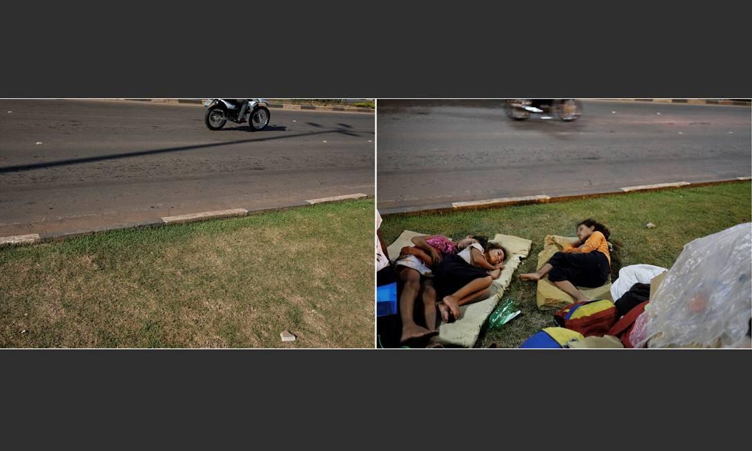 Na esquerda, um homem passa de moto próximo à Rodoviária de Boa Vista enquanto crianças venezuelanas dormem no chão do local Foto: Nacho Doce / Reuters