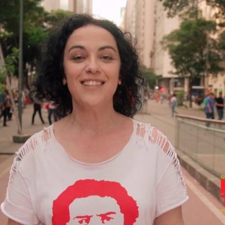 A candidata do PT, Márcia Tiburi, vai mostrar Lula no programa de TV Foto: Reprodução