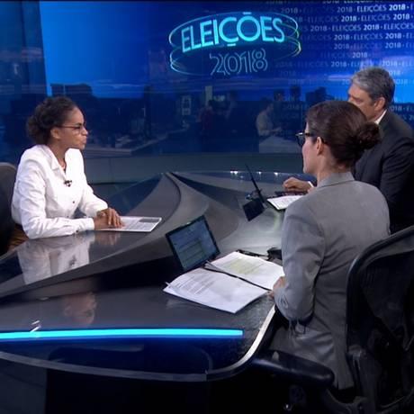 Entrevista com a candidata Marina Silva no Jornal Nacional Foto: Reprodução