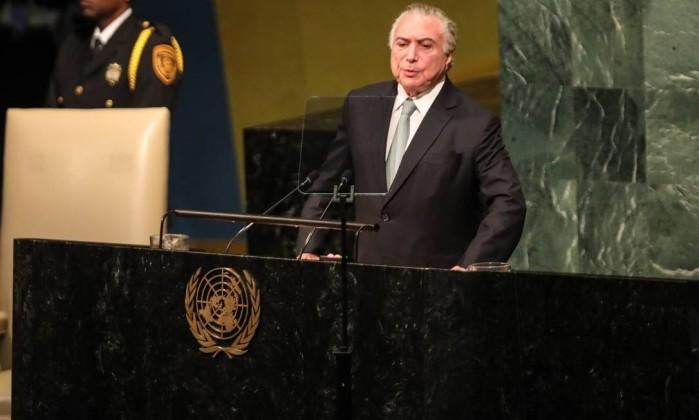 O presidente Michel Temer na sede da ONU, em setembro de 2017 Foto: Vanessa Carvalho/Brazil Photo Press / Agência O Globo / Agência O Globo
