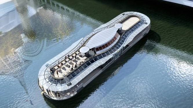 Vista do barco elétrico que servirá alta gastronomia pelo Sena Foto: Divulgação