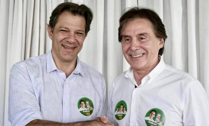 Senador Eunício Oliveira (MDB-CE), candidato à reeleição, encontra o candidato a vice-presidente da República pelo PT, Fernando Haddad. Foto: Reprodução