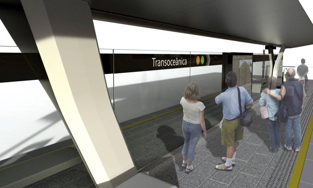 Modelo de estação que será construída na Transoceânica: similares ao do VLT carioca com laterais abertas Foto: Divulgação/Prefeitura de Niterói /