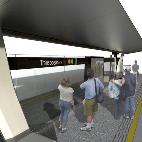 Modelo de estação que será construída na Transoceânica: similares ao do VLT carioca com laterais abertas Foto: Divulgação/Prefeitura de Niterói