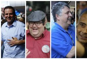 Os candidatos ao governo do Rio: Eduardo Paes (à esquerda), Tarcísio Motta, Anthony Garotinho e Romário Foto: Fotos de arquivo