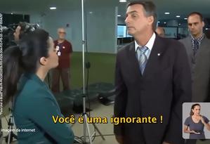 Trecho de propaganda mostra Bolsonaro discutindo com repórter Foto: Reprodução