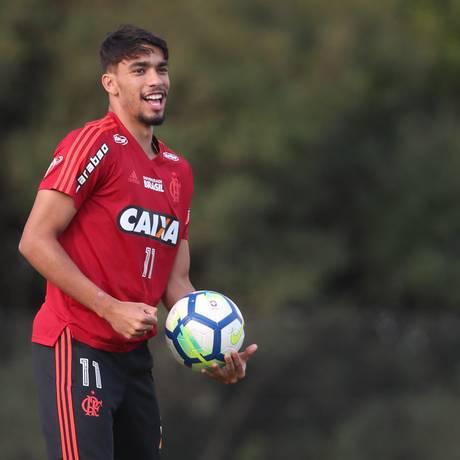 Lucas Paquetá durante treino no Ninho do Urubu Foto: Gilvan de Souza / Divulgação Flamengo