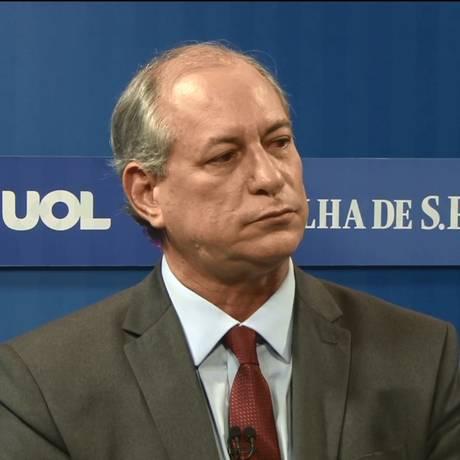 Em sabatina, Ciro Gomes (PDT) ataca Alckmin e Bolsonaro Foto: Reprodução/UOL
