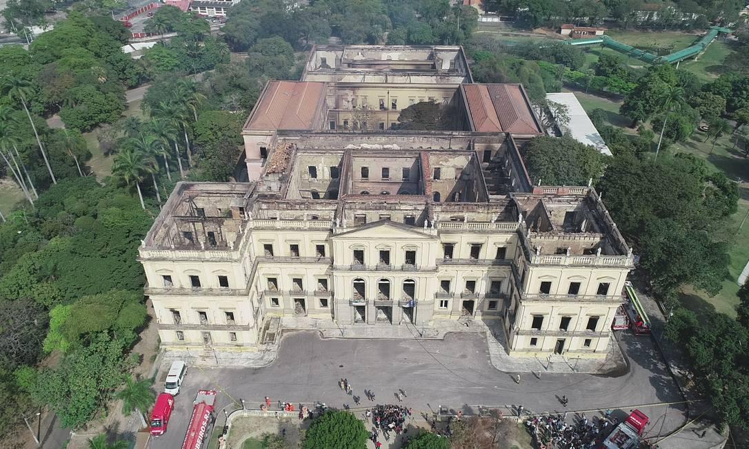 A fachada do Museu Nacional: risco desabar é afastado Foto: Renee Rocha / Agência O Globo