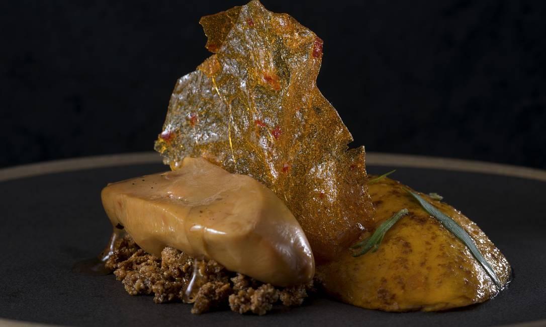 Bagatelle. O foie gras cozido em baixa temperatura com manga assada, farofa de pão tostado e calda de gim é uma das opções do novo menu do restaurante no Jockey (R$63). Praça Santos Dumont 31, 2º andar, Gávea (3435-0355) Alexander Landau / Divulgação