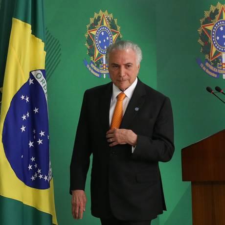 O presidente Michel Temer, durante pronunciamento no Palácio do Planalto Foto: Ailton de Freitas/Agência O Globo/28-08-2018