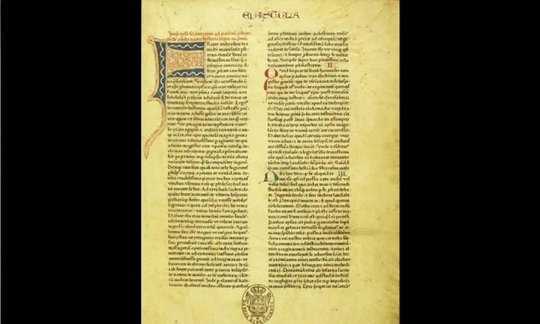 Datada de 1462, a Bíblia de Mogúncia foi o primeiro impresso da tradução em latim da bíblia, feita por Johann Gutenberg Foto: Reprodução/ Biblioteca Nacional