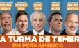 Publicação de Humbero Costa (PT-PE) com aliados de Temer