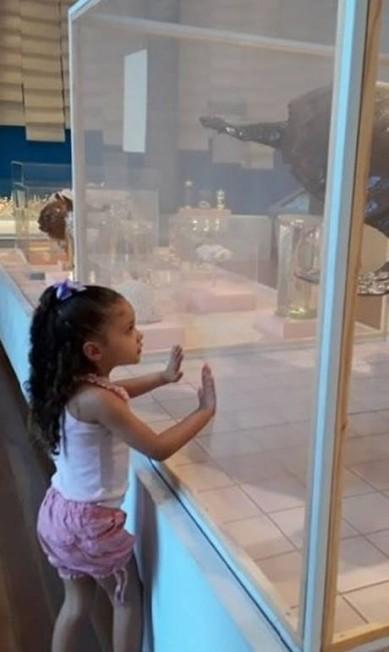 """A foto é da sobrinha da estudante de design Marina Alencastro, que levou am menina de 3 anos ao museu no domingo. """"É triste demais. Parece que perdi algo muito importante para mim. Foi o primeiro museu que visitei na vida e fez com que eu me apaixonasse pela área de esculturas"""", escreveu. Reprodução / Redes Sociais"""