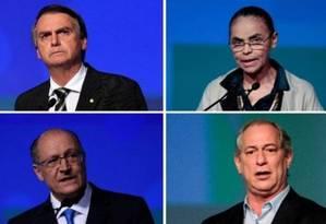 Os candidatos à Presidência Jair Bolsonaro (PSL), Marina Silva (Rede), Geraldo Alckmin (PSDB) e Ciro Gomes (PDT) Foto: Arquivo O Globo