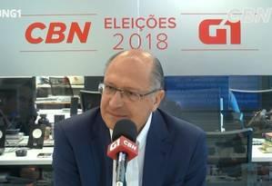 Geraldo Alckmin (PSDB) foi o entrevistado do G1 e da CBN Foto: Reprodução/G1