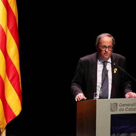 Primeiro-ministro catalão, Quim Torra, faz discurso retomando campanha independentista Foto: ALBERT GEA / REUTERS