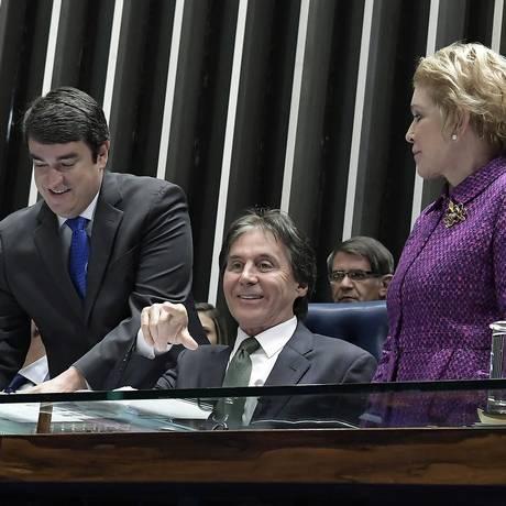 O presidente do Senado, senador Eunício Oliveira (MDB-CE), durante sessão Foto: Waldemir Barreto/Agência Senado